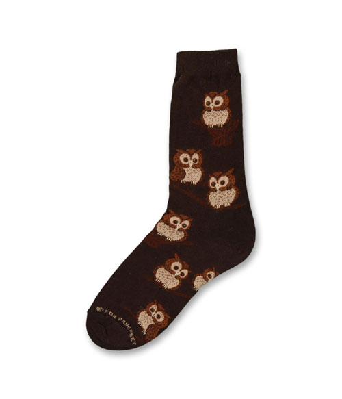 Owls On Black Socks
