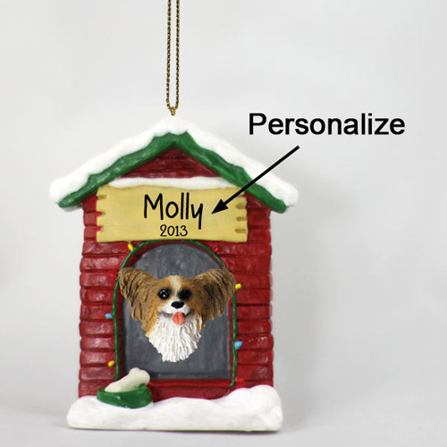 Papillon Personalized Dog House Christmas Ornament