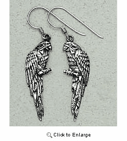 Parrot Earrings Sterling Silver