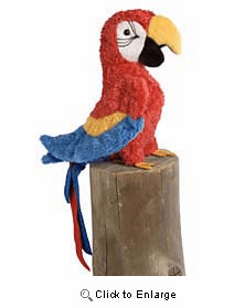 """""""Gabby""""  Red Parrot Plush 8"""" by Douglas toy"""