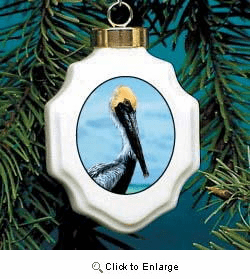 Pelican Christmas Ornament Porcelain