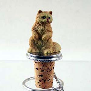 Persian Cat Bottle Stopper (Red)