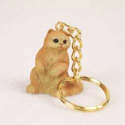 Persian Cat Keychain Red