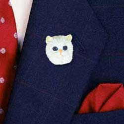 Persian Cat Pin Hand Painted Resin