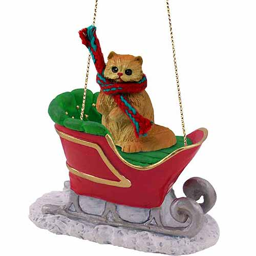Persian Cat Sleigh Ride Christmas Ornament Red