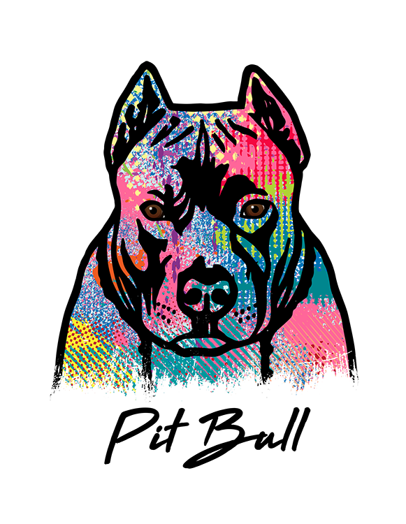Pit Bull Cropped T Shirt Colorful Abstract