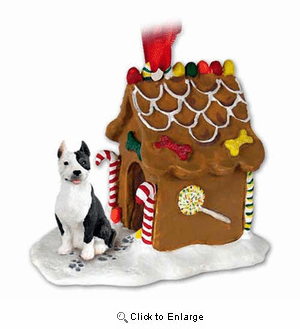 Pit Bull Terrier Gingerbread House Christmas Ornament Brindle