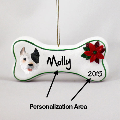 Pit Bull Terrier Personalized Dog Bone Christmas Ornament White