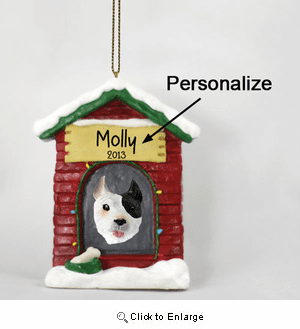 Pit Bull Terrier Personalized Dog House Christmas Ornament White