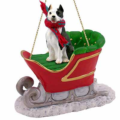 Pit Bull Terrier Sleigh Ride Christmas Ornament Brindle