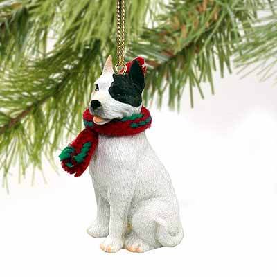 Pit Bull Terrier Tiny One Christmas Ornament White