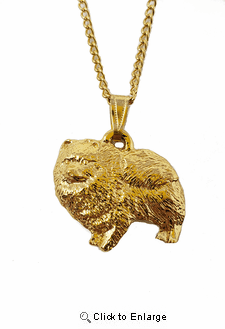 Pomeranian 24K Gold Plated Pendant with Necklace