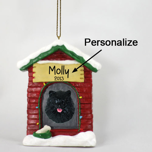 Pomeranian Personalized Dog House Christmas Ornament Black