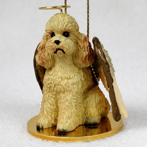 Poodle Angel Ornament Apricot Sport Cut