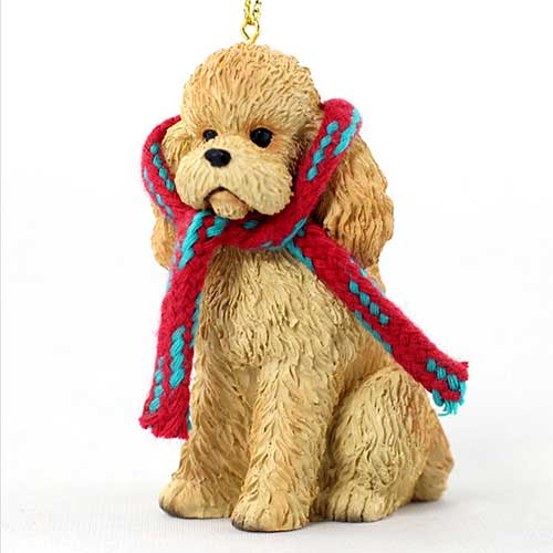 Poodle Apricot with Scarf Christmas Ornament Large Version