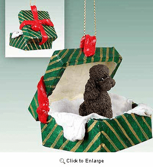 Poodle Gift Box Christmas Ornament Chocolate Sport Cut