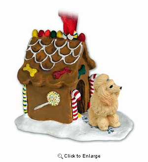 Poodle Gingerbread House Christmas Ornament Apricot