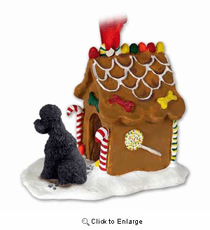 Poodle Gingerbread House Christmas Ornament Black Sport Cut