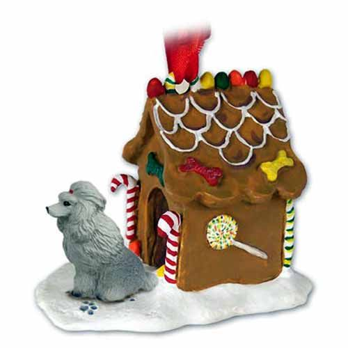 Poodle Gingerbread House Christmas Ornament Gray