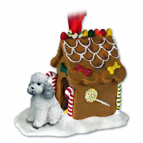 Poodle Gingerbread House Christmas Ornament Gray Sport Cut