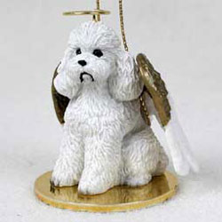 Poodle Christmas Ornament Angel (White)