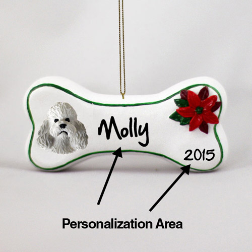Poodle Personalized Dog Bone Christmas Ornament Gray