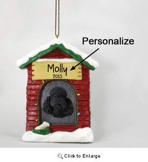 Poodle Personalized Dog House Christmas Ornament Black