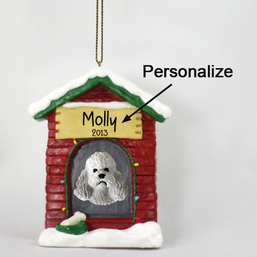Poodle Personalized Dog House Christmas Ornament Gray