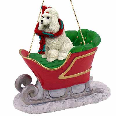 Poodle Sleigh Ride Christmas Ornament White