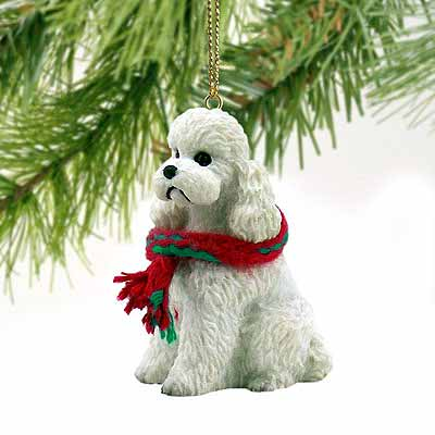 Poodle Tiny One Christmas Ornament White Sport Cut