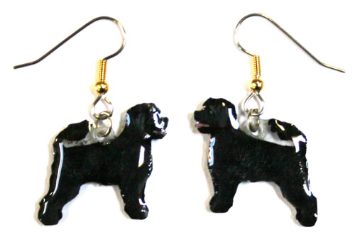 Portuguese Water Dog Earrings Hand Painted Acrylic