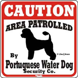 Portuguese Water Dog Caution Sign