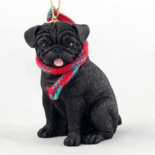 Pug Black with Scarf Christmas Ornament Large Version