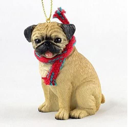 Pug Fawn with Scarf Christmas Ornament Large Version