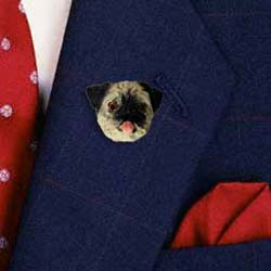 Pug Pin Hand Painted Resin