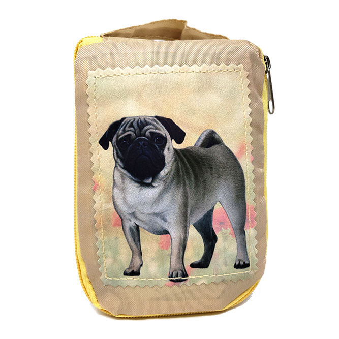 Pug Tote Bag Fawn - Foldable to Pouch