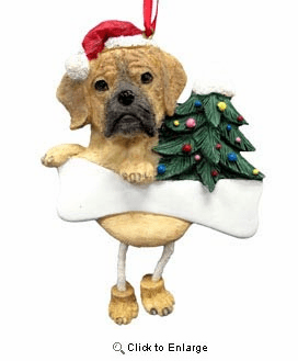 Puggle Christmas Tree Ornament - Personalize