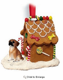Puggle Gingerbread House Christmas Ornament Brown