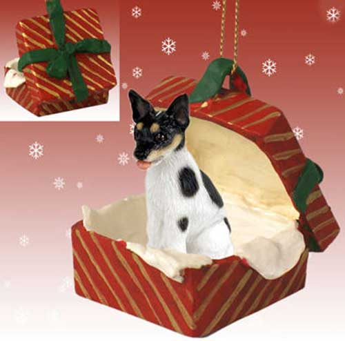 Rat Terrier Gift Box Red Christmas Ornament