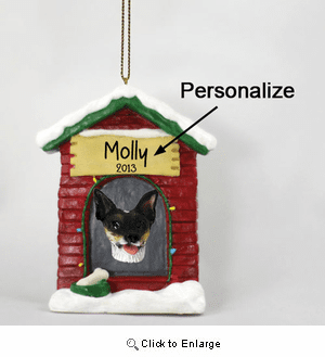 Rat Terrier Personalized Dog House Christmas Ornament