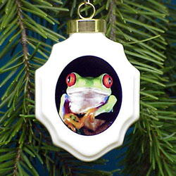 Red Eyed Tree Frog Christmas Ornament Porcelain