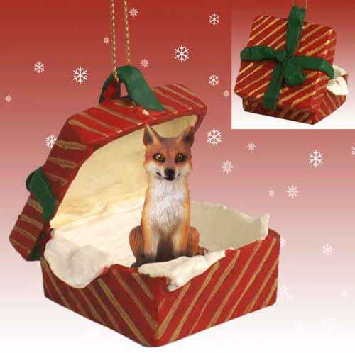 Red Fox Gift Box Red Christmas Ornament
