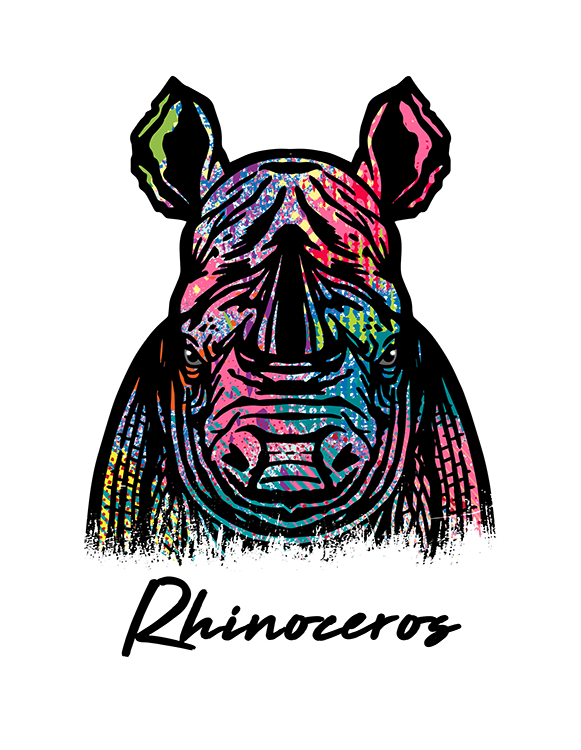 Rhinoceros T Shirt Colorful Abstract