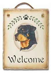 Rottweiler Slate Welcome Sign