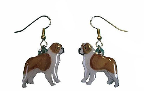 Saint Bernard Earrings Rough Hand Painted Acrylic