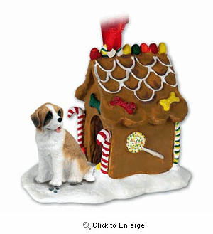 Saint Bernard Gingerbread House Christmas Ornament Rough Coat