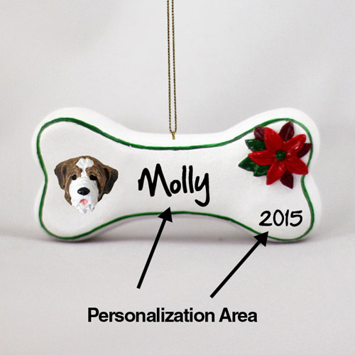 Saint Bernard Personalized Dog Bone Christmas Ornament Smooth Coat