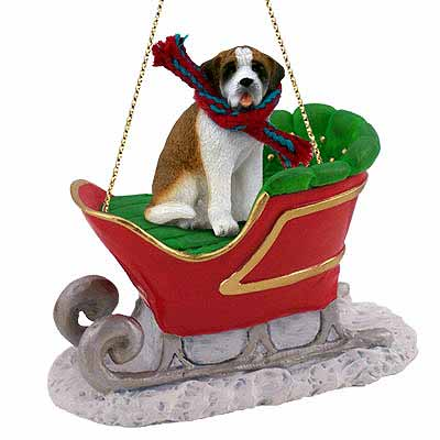 Saint Bernard Sleigh Ride Christmas Ornament Smooth Coat