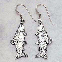 Salmon Earrings Sterling Silver