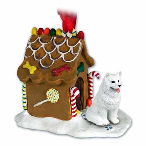 Samoyed Gingerbread House Christmas Ornament